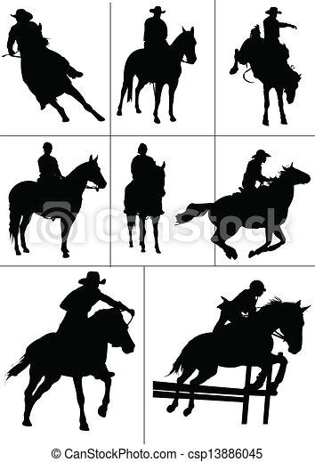 Horse riders silhouettes. Vector i - csp13886045