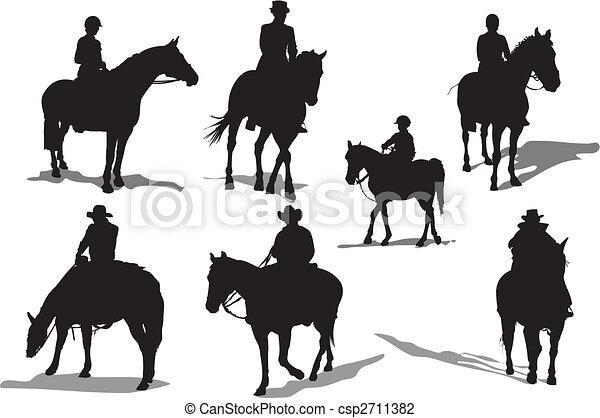 Horse riders silhouettes. Vector illustration - csp2711382
