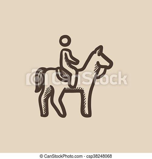 Horse riding sketch icon
