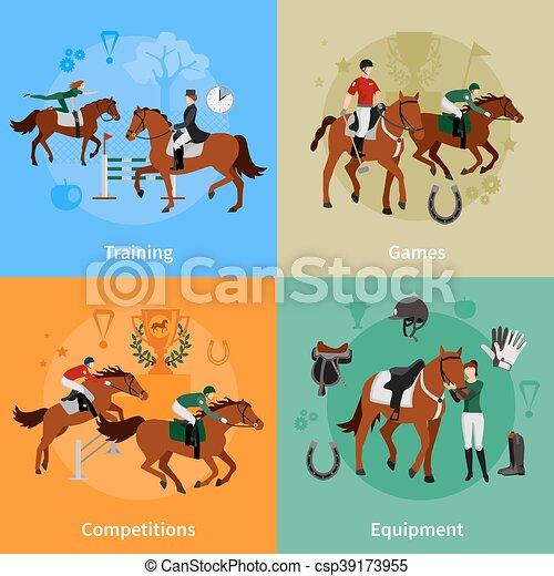 Horse Rising Sport 2x2 Design Concept - csp39173955