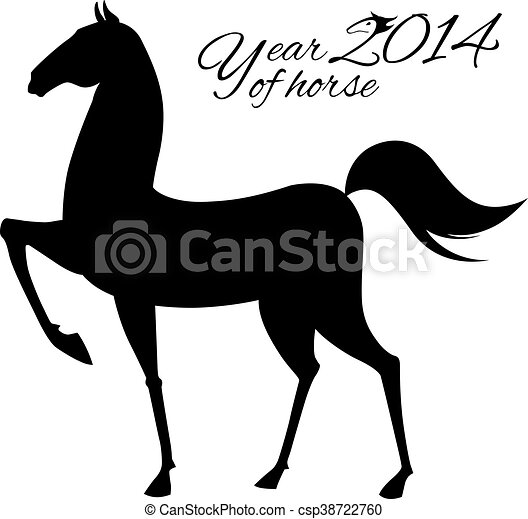 Horse silhouette on white background - csp38722760
