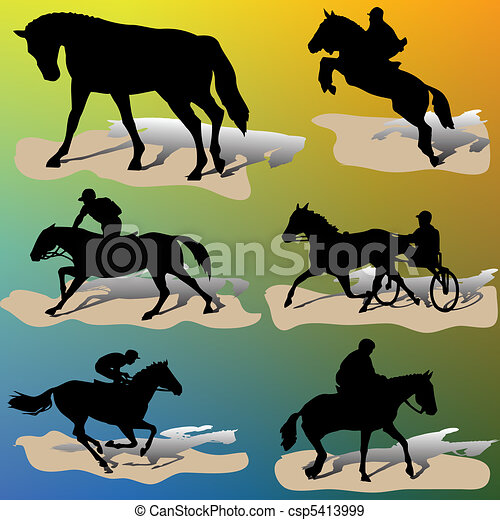 Horse silhouettes-vector - csp5413999
