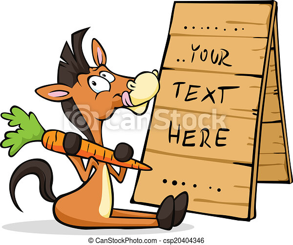 horse sitting at the table with a sign holding carrots - csp20404346