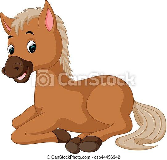 horse sitting cartoon - csp44456342