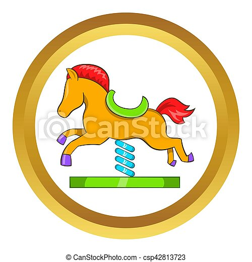 Horse spring see saw  icon - csp42813723