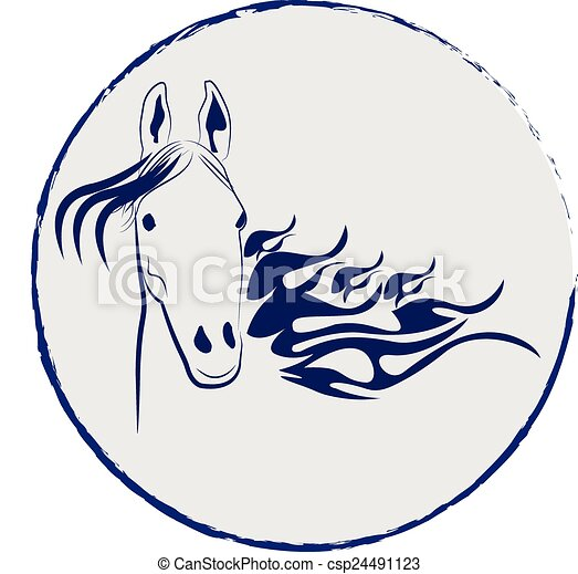 Horse stallion vector logo - csp24491123