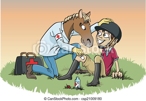 Horse therapy. Cartoon-style illustration: a horse doctor ...