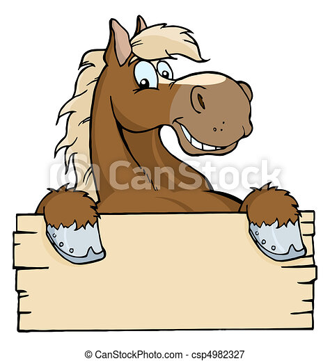 Horse With A Blank Sign  - csp4982327