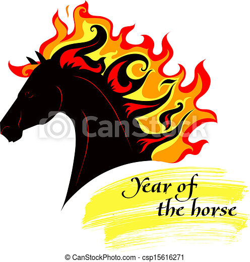 Horse with a mane of fiery - csp15616271