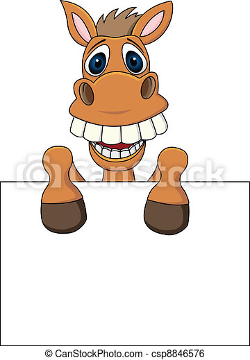 Horse With Blank Sign - csp8846576