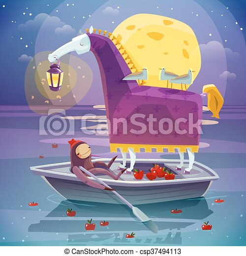 Horse With Lantern Surreal Dream Poster - csp37494113