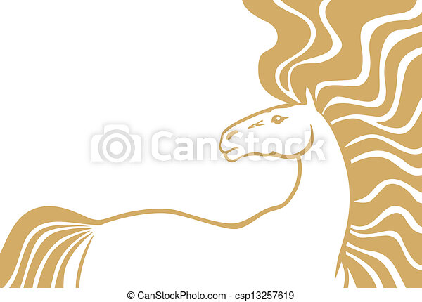 Horse with long mane - csp13257619