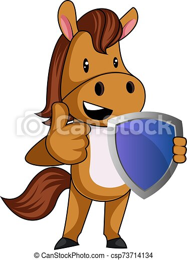 Horse with shield, illustration, vector on white background. - csp73714134