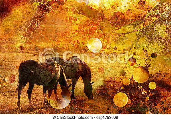 horses in a prairie - csp1799009