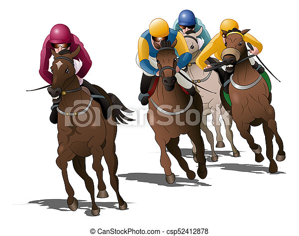 horses racing competition on isolated - csp52412878