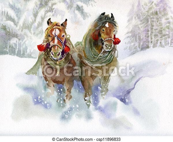 Horses running in winter - csp11896833