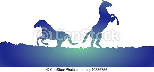 horses, silhouette - csp40886756