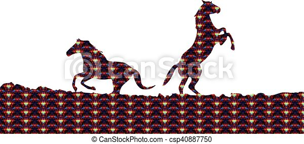 horses, silhouette - csp40887750