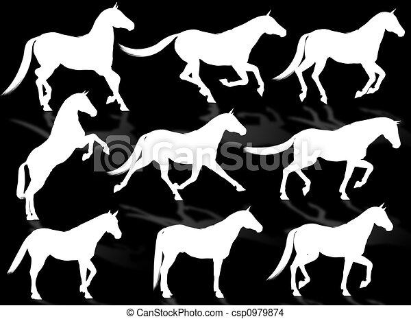 Horses silhouette - csp0979874