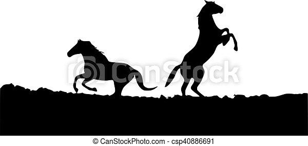 horses, silhouette - csp40886691
