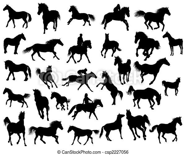 horses silhouettes - csp2227056