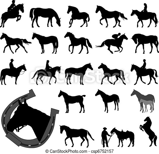 Horses silhouettes collection - csp6752157