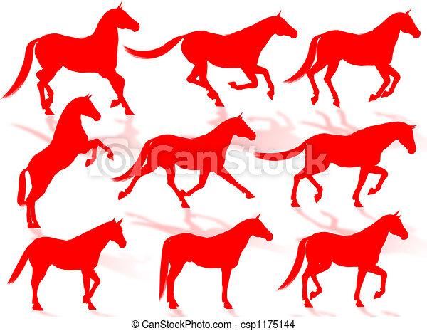 Horses silhouettes - csp1175144