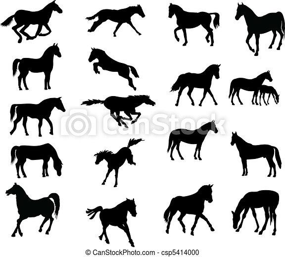 Horses various vector-silhouettes - csp5414000