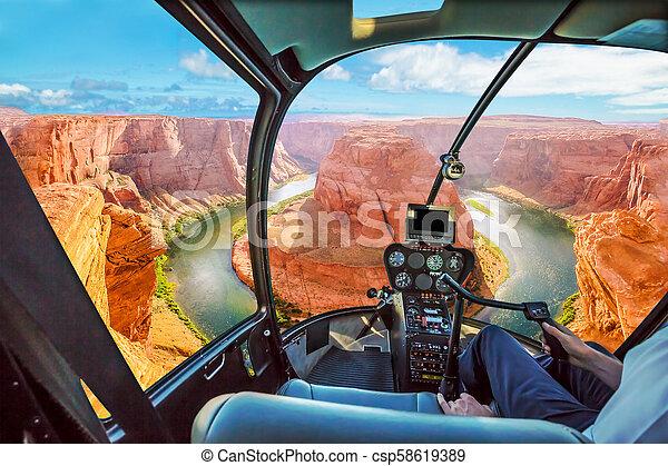 Horseshoe Bend Helicopter - csp58619389