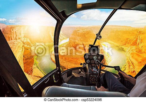 Horseshoe Bend Helicopter sunset - csp53224098
