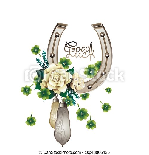 Horseshoes, rabbit foots,roses and clover - csp48866436
