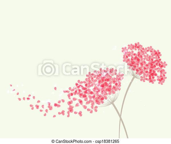 Hortensia Fleurs Romantique Fond Fleurs Hortensia Vecteur