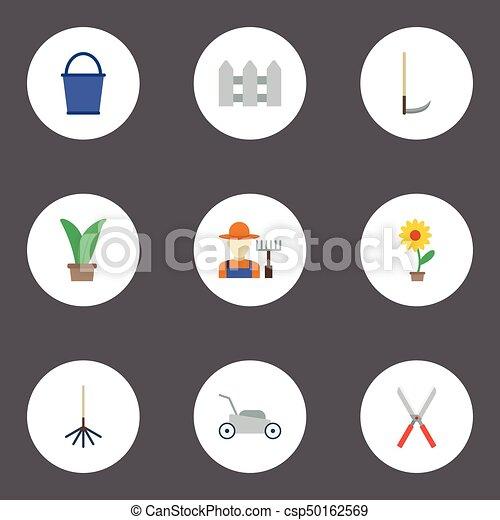 Un cubo de iconos planos, planta, valla y otros elementos vectoriales. Un conjunto de iconos planos de horticultura también incluye rastrillos, cubos, objetos de seto. - csp50162569