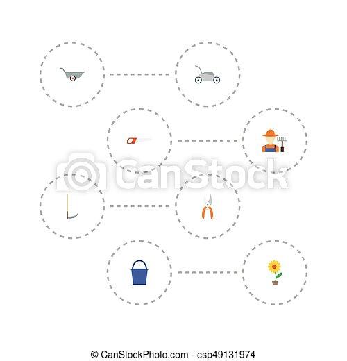 Pruner de iconos planos, cubo, carretilla y otros elementos vectoriales. Un conjunto de iconos planos de la horticultura incluye también secateurs, cortacéspedes, objetos de planta. - csp49131974