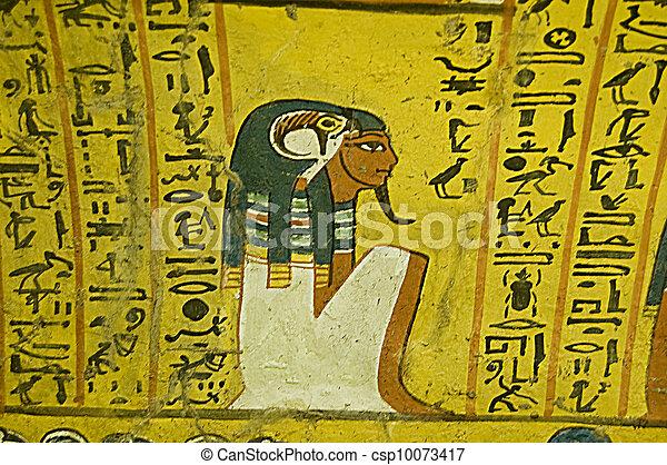 Ancient Egyptian Wall Painting Of The God Horus Sitting Beside The Deceased  Noble Irynefer. Tomb TT290 In Deir El Medina, Luxor, Egypt.