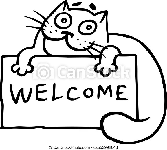 Hospitable Cat With The Word Welcome Cute Hospitable Cat Is Holding