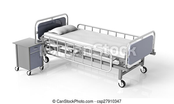 Hospital bed and bedside table, isolated on white background - csp27910347