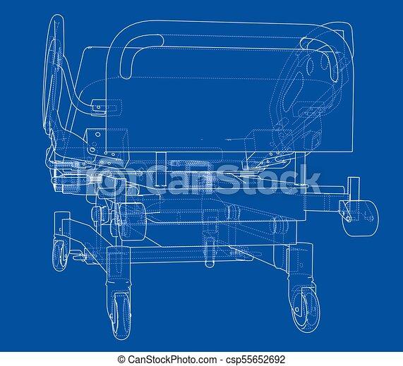 hospital bed sketch  vector