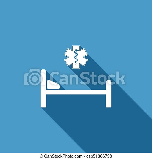 Hospital Bed With Medical Symbol Of The Emergency Star Of
