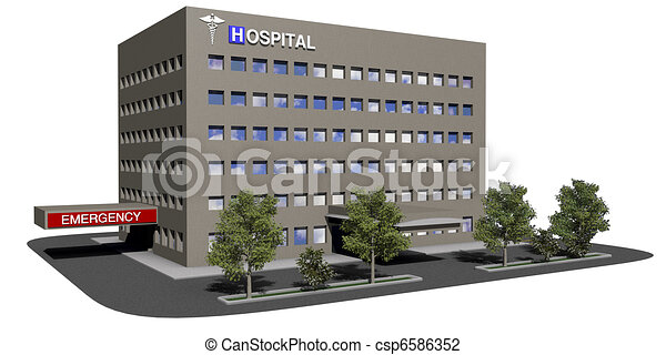 Hospital building on a white background - csp6586352