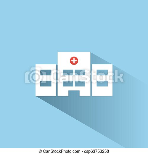 Hospital color icon with shadow on a blue background - csp63753258