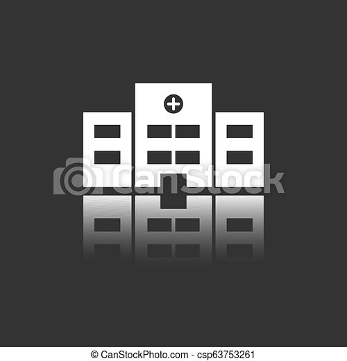 Hospital icon with reflection on a black background - csp63753261