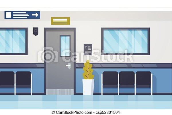 Hospital Interior Empty Hall With Seats And Door Modern Clinic Corridor - csp52301504 & Hospital interior empty hall with seats and door modern... vector ...