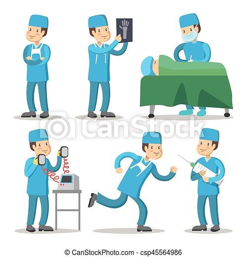 Hospital Medical Staff Character Surgeon Doctor Cartoon Vector