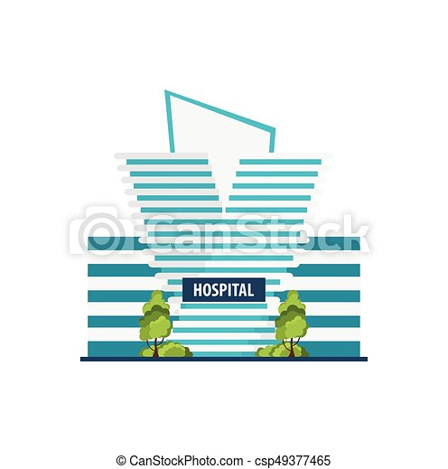 Hospital Modern building in flat style isolated on white background. - csp49377465