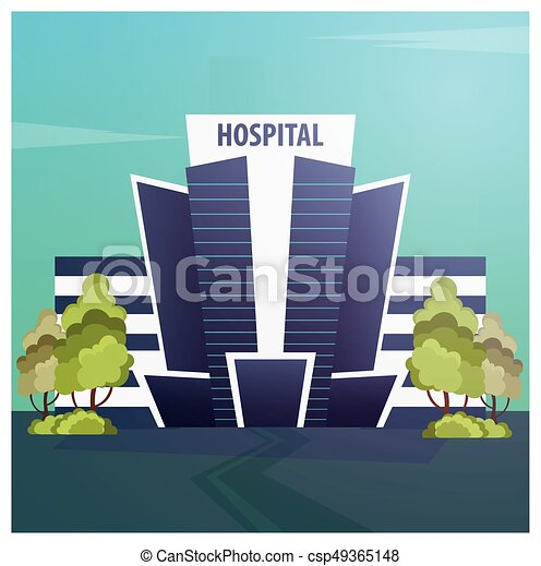 Hospital Modern building in flat style isolated on white background. - csp49365148