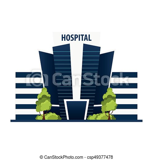Hospital Modern building in flat style isolated on white background. - csp49377478