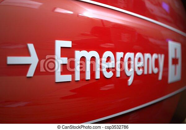 hospital., nødsituation underskriv - csp3532786