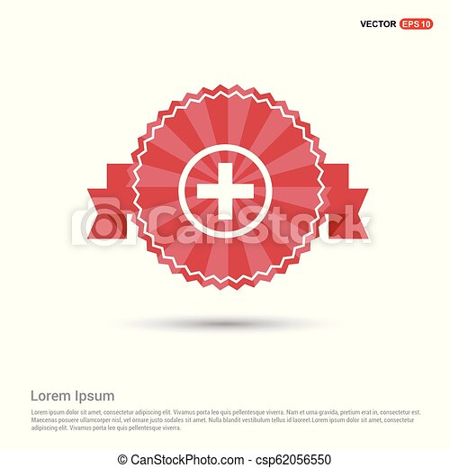 hospital plus sign button icon - Red Ribbon banner - csp62056550