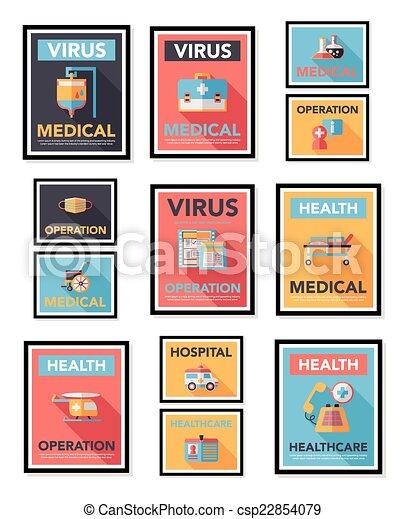 Hospital poster banner design flat background set, eps10 - csp22854079